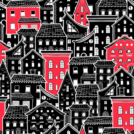 home accent: Seamless pattern with houses, doodle house wallpaper, monochrome background with red accents, good for design fabric, wrapping paper, postcards