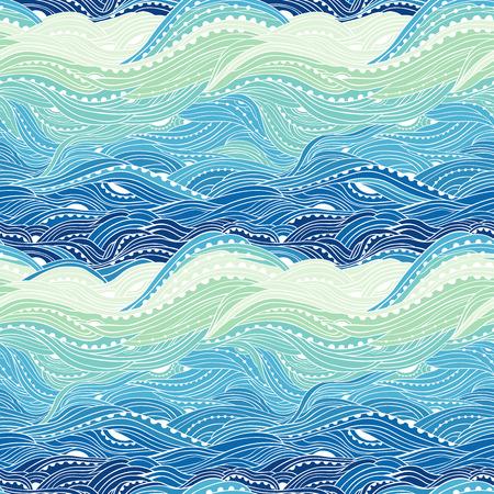 シームレスな取水パターン、波、青い波背景海パターンします。