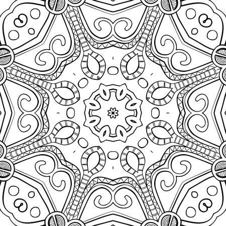 Mandala Dibujado A Mano Para Colorear, Fondo Cuadrado, Modelo Del ...