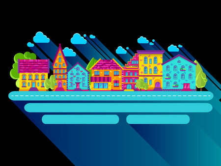 row houses: Colection of houses in a row, city street, bright colored houses Illustration