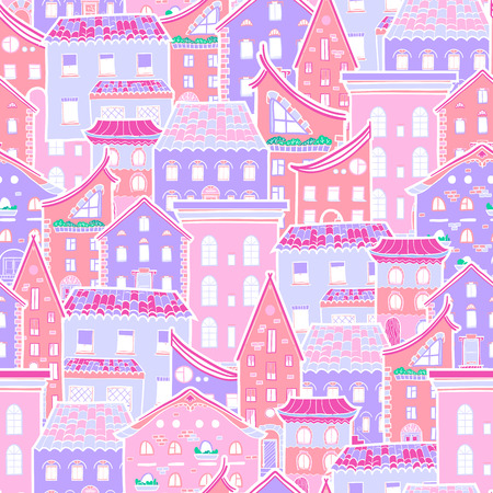 cute house: Hand drawn seamless pattern with houses, doodle house background
