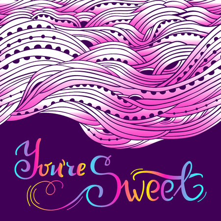 sweety: Horizontal wavy border with place for text, hand-drawn waves, pink sweet background, lettering You are Sweet
