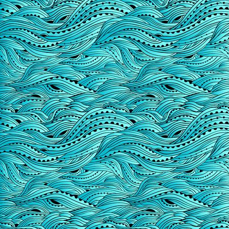 Blauwe zee golfpatroon, abstracte water achtergrond, blauw kleurverloop wallpaper Vector Illustratie