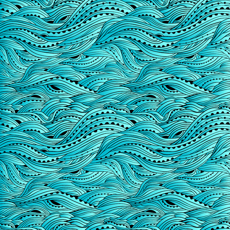 Blue sea wave pattern, abstract water background, blue gradient wallpaper Vector Illustration