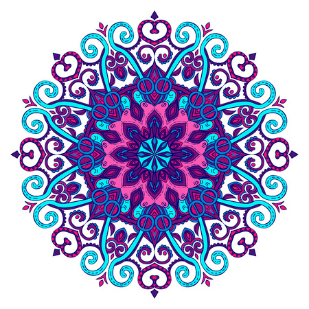 Vector hand-drawn blue and purple oriental mandala, ethnic doodle mandala with colorful ornament, isolated decorative template, Islam, Arabic, Indian, ottoman motifs,