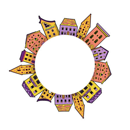 Cute round border made of houses with place for text, hand-drawn frame, can be used for invitations, postcards, flyers, card,