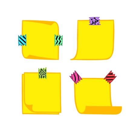 Vier gele notitiepapieren met washi tape in cartoonstijl, memo met gekrulde hoeken, kleurrijke decoratieve papierband, geïsoleerde notitiepapier op witte achtergrond, Vector Illustratie