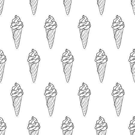 Seamless Doodle Ice Cream Cone Pattern, Hand-drawn Monochrome ...