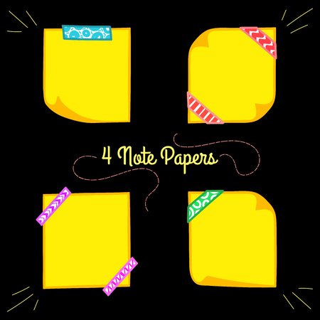 Vier gele notadocumenten met washi tape in cartoon-stijl, memo met gekrulde hoeken, kleurrijke decoratief papier tape, geïsoleerd notitie papier op een zwarte achtergrond, EPS, 8 Vector Illustratie