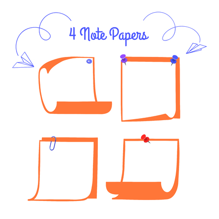 pinned: Four pinned note papers in cartoon style, linear memo with curled corners, isolated note paper on white.