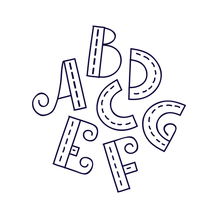buchstabe: Hand-drawn vector A B C D E F G letters, doodle alphabet, EPS 8