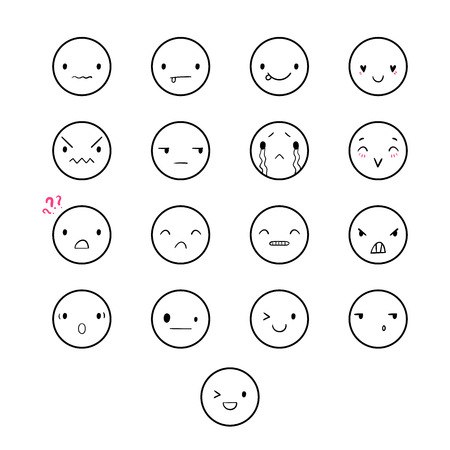 Vector set of emoticons, doodle hand-drawn smiley icons, isolated on white background, different emotions, smile, happy, wink, cry, EPS 8
