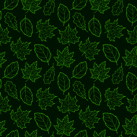 Doodle Leaves Seamless Pattern Dark Vector Hand Drawn Green