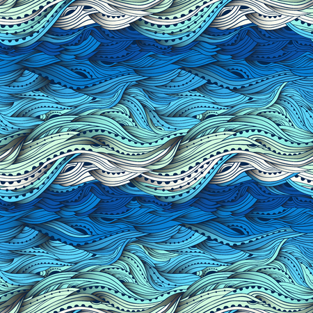 Abstract seamless water pattern, hand-drawn waves vector, blue wave background, sea pattern, EPS 10 Illustration