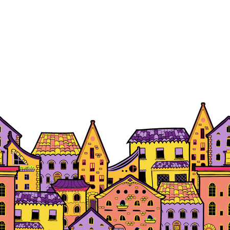 Cute seamless border made of houses in cartoon style, hand-drawn frame with place for text, can be used for invitations, postcards, flyers, cup, card, Eps 8
