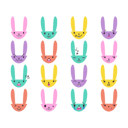 Set of cute color Easter bunny emoticons with happy and lovely faces, hand-drawn rabbit collection with various emotions