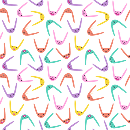 Colorful seamless pattern with cute Easter bunny faces with happy and lovely emotions, hand-drawn rabbits with various expressions