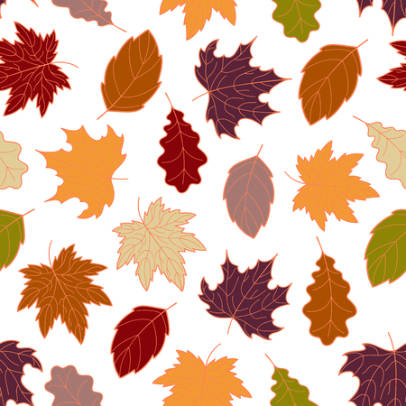 veined: Hand-drawn seamless pattern of autumn leaves, various veined fall leaves, botanic vector background, EPS 8