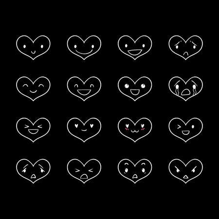 Heart emoticons with different emotions, vector set of various hand-drawn outline cute expressions, EPS 8