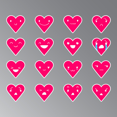 Heart pink emoticons with different emotions, vector set of various  hand-drawn cute expressions