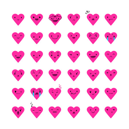Heart pink emoticons with different emotions, vector set of various hand-drawn cute expressions,