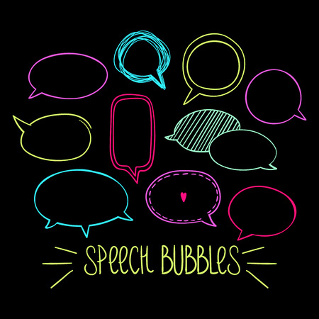 Set of hand-drawn oval speech bubbles, vector abstract illustration of rounded speech bubbles, Illustration