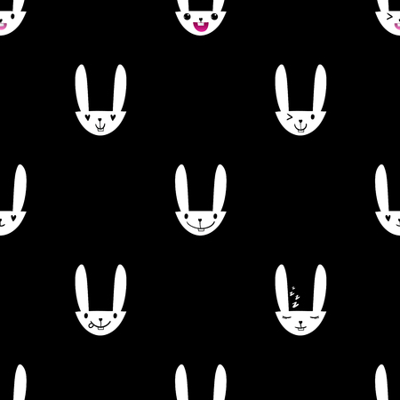 Seamless pattern with cute Easter bunny faces with happy and lovely emotions, hand-drawn white rabbits with various expressions