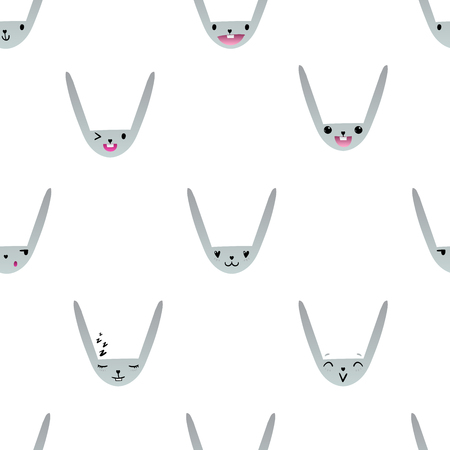 lapin: Pattern with cute Easter bunny faces with happy and lovely emotions, hand-drawn gray rabbits with various expressions, EPS 10