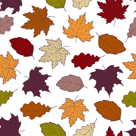 Doodle autumn leaves seamless pattern, vector hand-drawn fall leaf wallpaper, nature botanic abstract background, EPS 8.