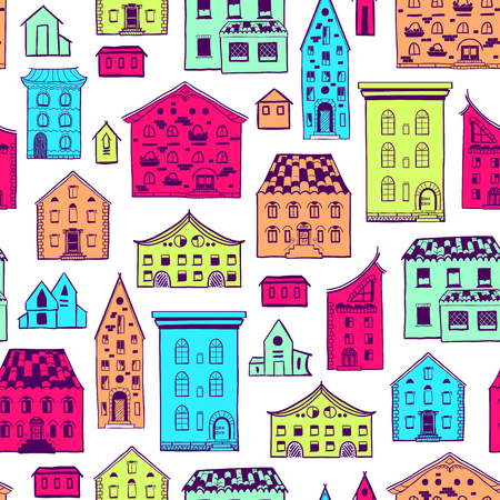 Bright colored seamless pattern with houses, doodle house vector background, cute colorful houses in cartoon style, EPS 8. Illustration