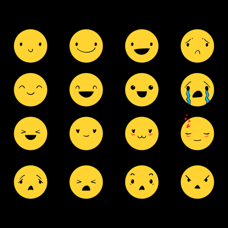 Yellow emoticons with different emotions, vector set of various hand-drawn cute expressions, EPS 8 Ilustracja