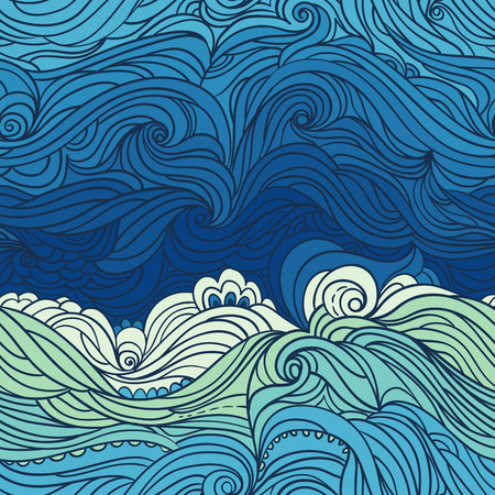 Seamless waves pattern. Abstract water background with curly hand-drawn waves. Blue tide vector background. Sea and ocean theme. Eps 8