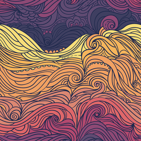 Seamless waves pattern. Abstract water background with curly hand-drawn waves. Colorful vector background. Eps 8 Ilustração