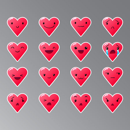 Heart red emoticons with different lovely emotions, vector set of various hand-drawn cute expressions, EPS 10