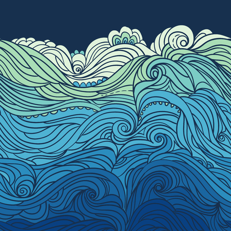 Water Pattern. Horizontal seamless waves border. Abstract water background with curly hand-drawn waves. Blue tide vector background. Sea and ocean theme. EPS 8 Ilustração