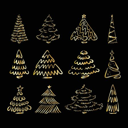 Hand drawn Christmas tree collection, set of doodle illustrations of firs, for cards and package design, Vetores
