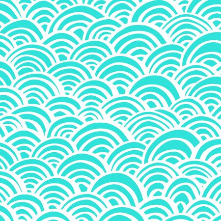 Vector blue abstract pattern with arcs. Repeating geometric background with bows. EPS 8