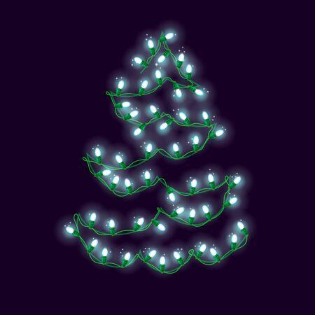 Christmas tree made of Christmas lights, holiday vector, shiny vector garland, EPS 10