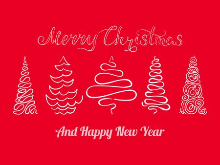 Set of hand-drawn Christmas tree, abstract stylized fir-tree, lettering Merry Christmas, holiday design element, EPS 8