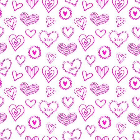 Abstract seamless pattern of hearts on white background. illustration for a poster or cover. Vector illustration.