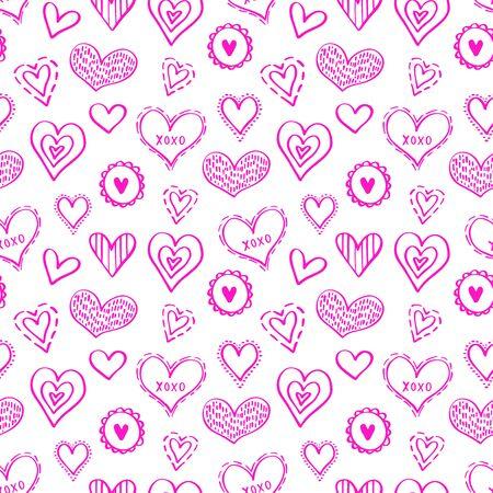 Abstraktes nahtloses Muster von Herzen auf weißem Hintergrund. Illustration für ein Poster oder Cover. Vektor-Illustration.