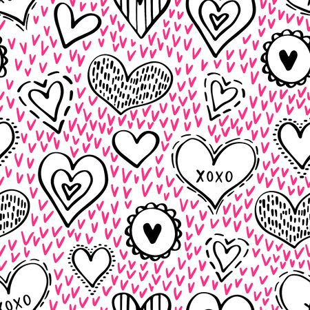 Abstract seamless pattern of hearts on white background. illustration for a poster or cover. Vector illustration. Foto de archivo - 134611291