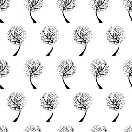 Tree Hand Drawn Patterns Uneven Illustration
