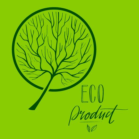 Vector Tree silhouette with round coma in circle. Hand drawn illustration of branches and twigs. Eco Product lettering. EPS 8