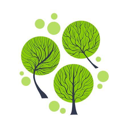 Three Elegant Vector Treies. Eco and Healthy lifestyle Concept. Nature Illustration.