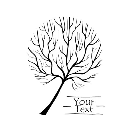 Vector Tree silhouette. Hand drawn line illustration. Branches and twigs. EPS 8 Vettoriali