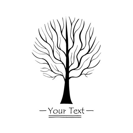 Vector Tree silhouette. Hand drawn line illustration. Branches and twigs. EPS 8