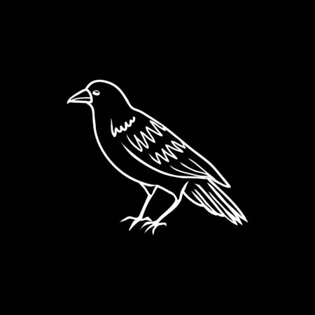 Halloween doodle spooky raven. Fun hand drawn icon elements for halloween decorations and sticker. EPS 8