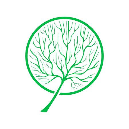 Vector Tree silhouette. Hand drawn green grown plant illustration. Branches and twigs. EPS 8