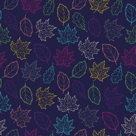 Leaves Seamless Outline Color Dark Ilustracja